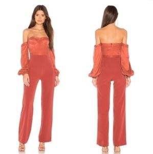 NWT NBD Lily Bustier Jumpsuit in Rust x Revolve
